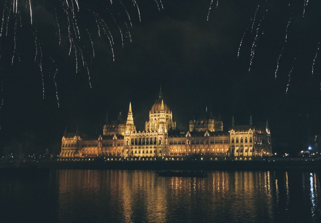 fireworks over the Budapest parliament.